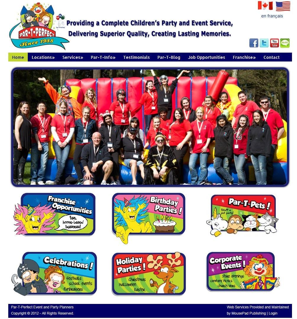 Par-T-Perfect Party Planners – MousePad Publishing Website Services